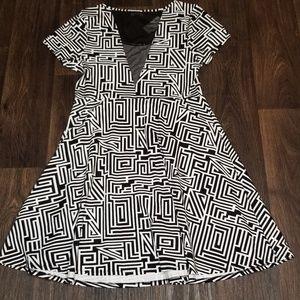 Forever21+ Black and White Geo Skater Dress